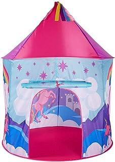 HO-TBO lektält, rosa inre prinsessa slott enhörning tält enhörning pop up barn leksak tält stort lekhus tipi med bärväska ...