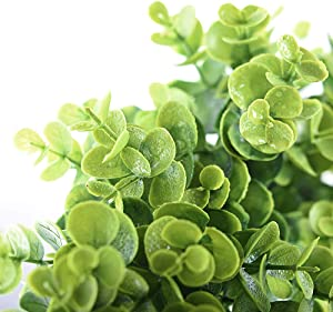 "Lvydec Artificial Green Leaves Wreath - 15"" Fake Eucalyptus Wreath Outdoor Green Wreath for Front Door Wall Window Party Décor"