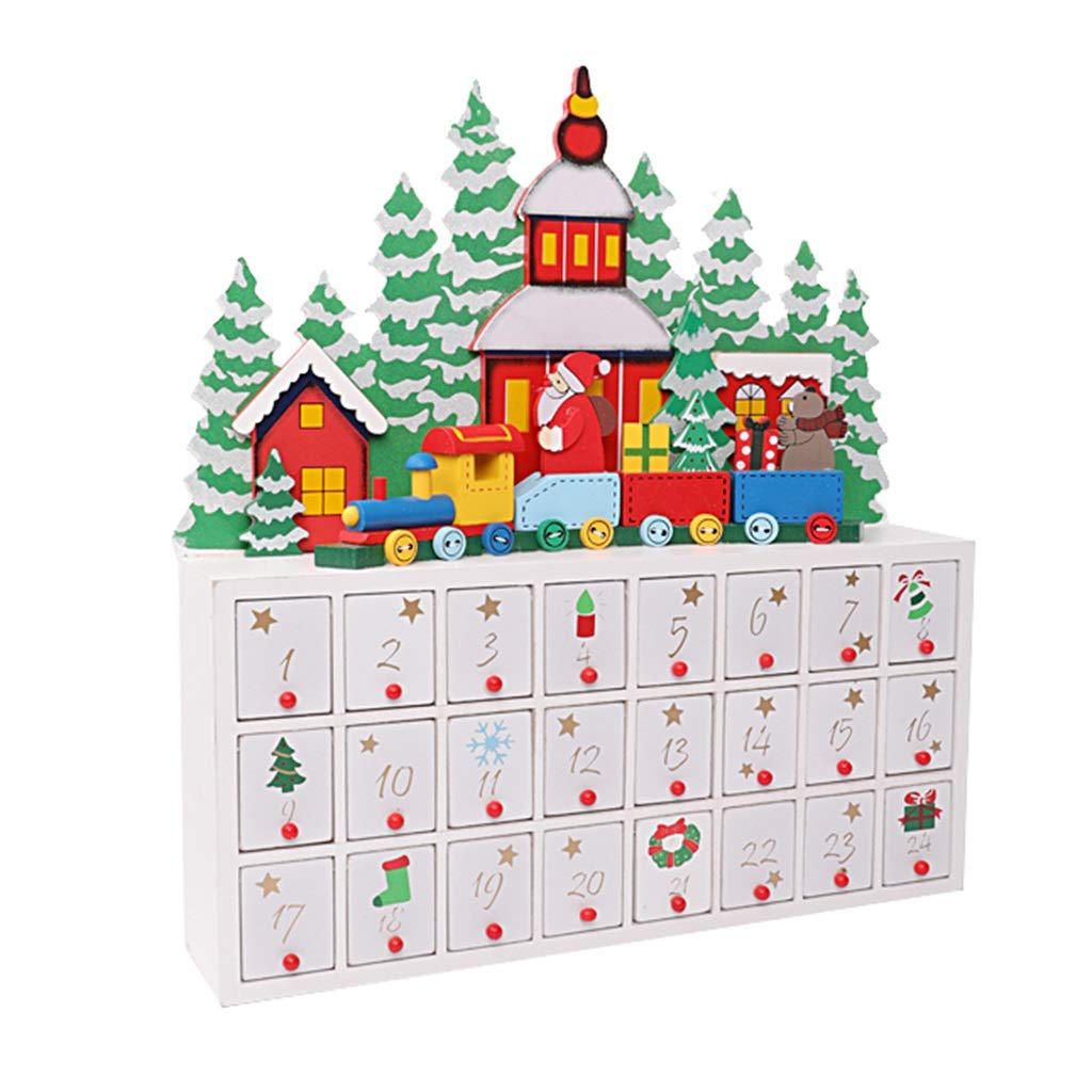Amazon Com Advent Calendars 24 Opening Drawers Filled Candy Christmas Christmas Countdown Gift Box Gift Home Desktop Decorations Ornaments Color White Size 40388cm Home Kitchen