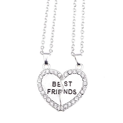 HARMERSTORE 2 Pcs Half Love Shaped Couple Pendant Alloy Best Friends Necklace