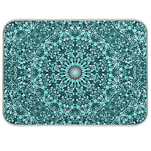 susiyo Dish Drying Mat Teal Bohemian Kaleidoscope Mandala Kitchen Dish Pads Super Absorbent Microfiber Dish Drying Rack Pads Safe Heat-Resistant Kitchen Counter Mat,18x24 Inch