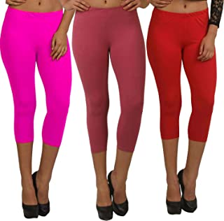 Fablab Capri Leggings 3/4th Pants for Girls|Ladies| Women Capri_CLS_190-3-14PMR,PinkMaroon Red,Free Size Combo Pack of 3.