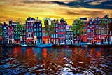 YANCONG Puzzle 300 Piezas, Paisaje del Amanecer del Canal De Amsterdam Niños 38X26Cm
