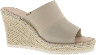TOMS - Womens Monica Mule Wedge, Size: 7 B(M) US, Color: Natural Shimmer Canvas/Suede