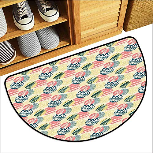 Axbkl Bedroom Doormat Palm Tree Exotic Leaves with Grunge Display and Big Spots Brazil Madagascar Country Home Decor W31 xL20 Blue Coral Pale Yellow