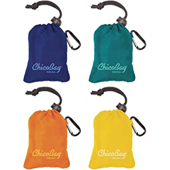 Chicobag Original Reusable Grocery Bag with Attached Pouch and Carabiner Clip Variety 4 Pack - Mazarine, Aqua, Orange Peel and Yellow