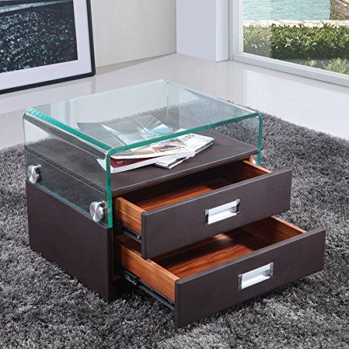 i-flair® - Nachttisch, Nachtkonsole aus hochwertigem Kunstleder - S69 Braun
