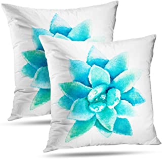 Alricc Decorative Throw Pillows Halftone Watercolor Succulent Flower Rose Plant Desert Pillow Cushion Cover for Bedroom Sofa Living Room 18 x 18 Inch