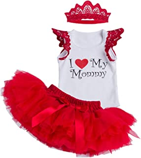 Baby I Love Mommy Outfit Jumpsuit Romper Tutu Skirt and Headband