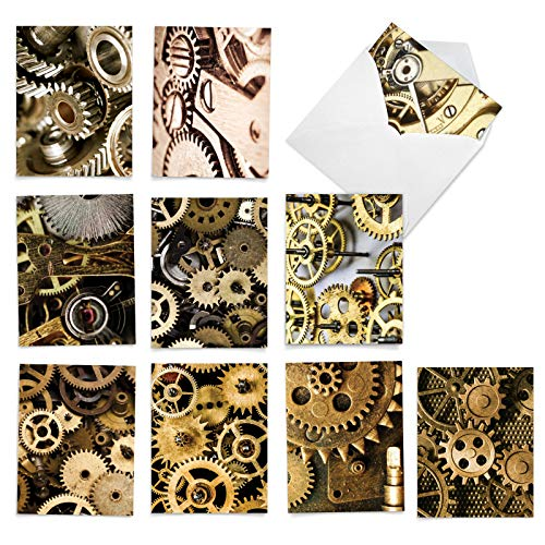 The Best Card Company - 10 Assorted Blank Note Cards (4 x 5.12 Inch) - Boxed, All Occasion Cards with Gears, Crank (Not Foil) - Gearing Up M2014