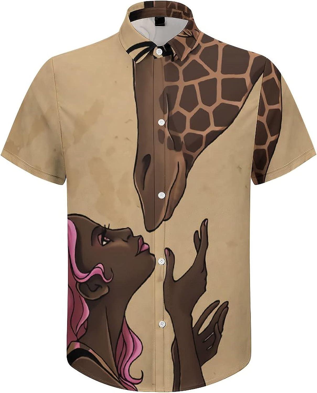 Mens Button Down Shirt African Women with Giraffe Casual Summer Beach Shirts Tops