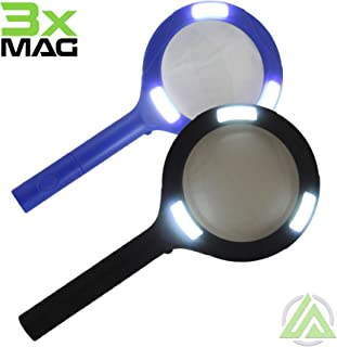LitezAll COB LED 3X Magnifying Glass w/ Light - Lighted Handheld Magnifier Use For Macular Degeneration, Reading, Seniors, Jewelers, Low Vision or Quick Magnification 2 AA Batteries Included