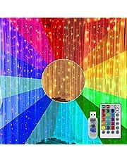 Venster Gordijn Verlichting 3 M X 2 M RGB 17 Kleur Veranderende Regenboog Gordijn Fairy Lights USB-lichtketting Afstandsbediening voor Outdoor, Binnen, Home Decor