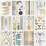 Flash Tattoos, Temporäre Klebe-Tattoos 12 Blätter Metallic Flash tattoos in Gold, Silber & Schwarz...