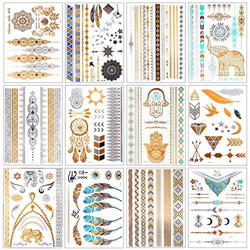 Flash Tattoos, Temporäre Klebe-Tattoos 12 Blätter Metallic Flash tattoos in Gold, Silber & Schwarz Temporäre Tätowierung Wasserdichte, Das perfekte Festival & Party Accessoire.