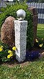 GRANIT Palisade Säule 72cm mit 120mm Edelstahlkugel Garten Deko Stele V2A