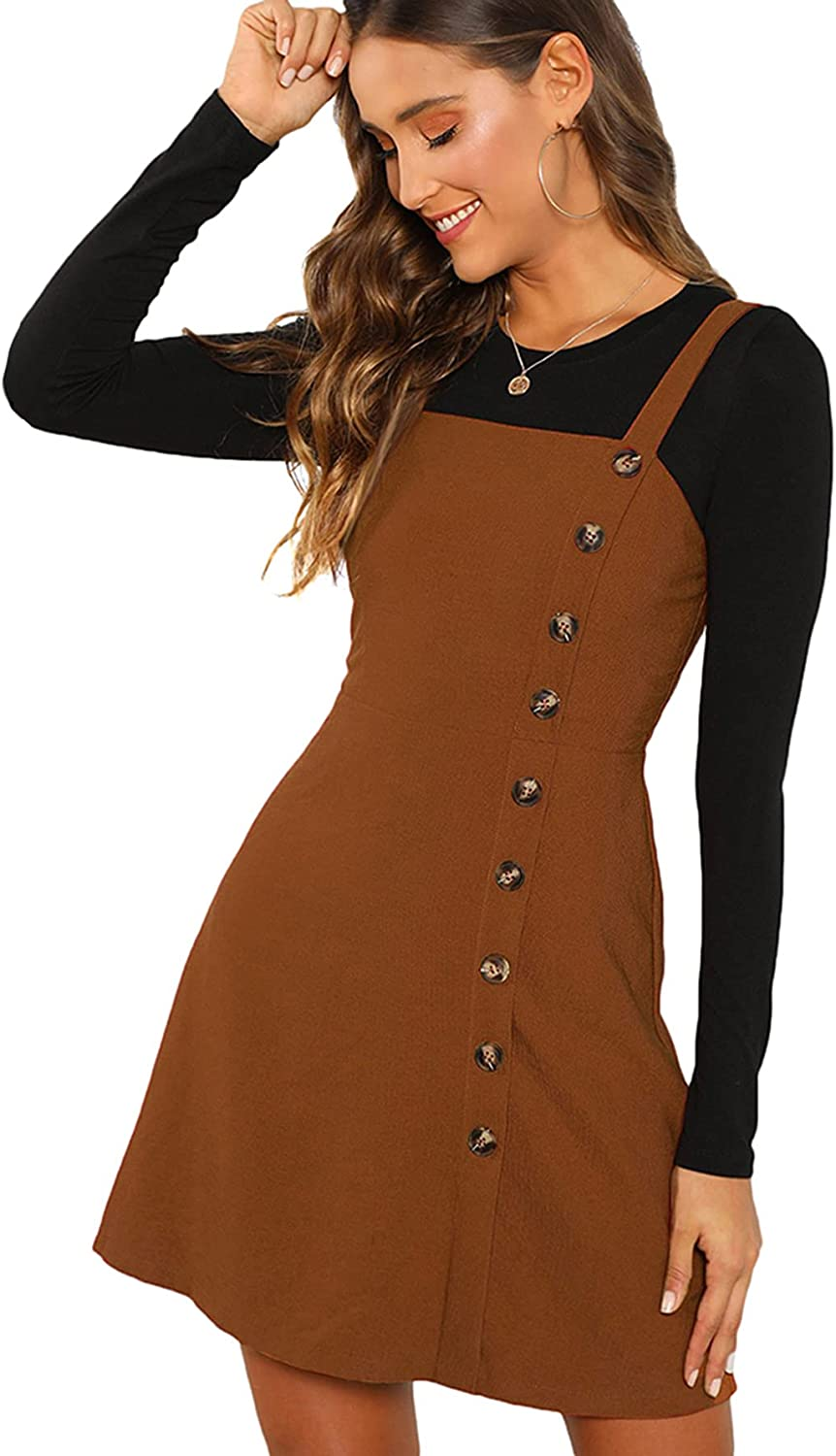 Special Campaign Verdusa Women's Button Front Pinafore Dress shop Overall