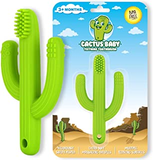 Cactus Baby Teething Toys Toothbrush   Self-Soothing Pain Relief Soft Silicone Teether Training Toothbrush for Babies, Tod...