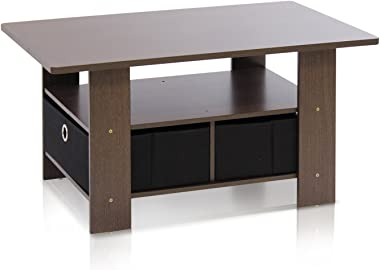 Furinno Coffee Table with Bins, Dark Brown/Black