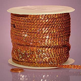 Orange Holographic Faceted Sequins, 6mm X 80Yd