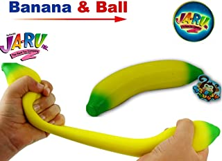 JA-RU Stretchy Banana Buh Nay Nay Squeesh Yum and 1 Collectable Bouncy Ball Stretches Long & Shrink Slow Sand Filled Delicious Stress Relief. 3340-1-p