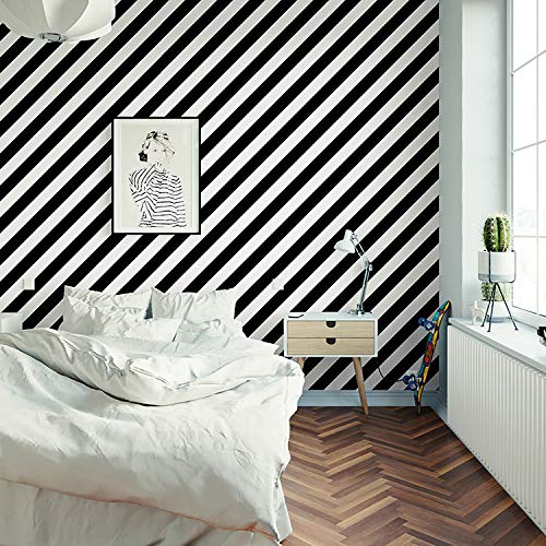 FSVGC Nordic Style Black and White Striped Wallpaper Ins Wind Lines Modern Minimalist Living Room Bedroom Clothing Store Wallpaper 5.3㎡/Roll