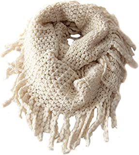 EUBUY Fashionable Autumn Winter Kids Toddler Knit Warmer Tassels Neck Scarf Circle Loop Round Scarves Shawl(Beige)