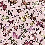 Sommersweat Stoff mit Schmetterlingen auf Rosa als