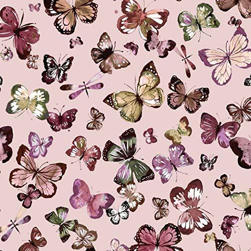 Sommersweat Stoff mit Schmetterlingen auf Rosa als Meterware zum Nähen von Erwachsenen, Kinder und Baby Kleidung, 50 cm
