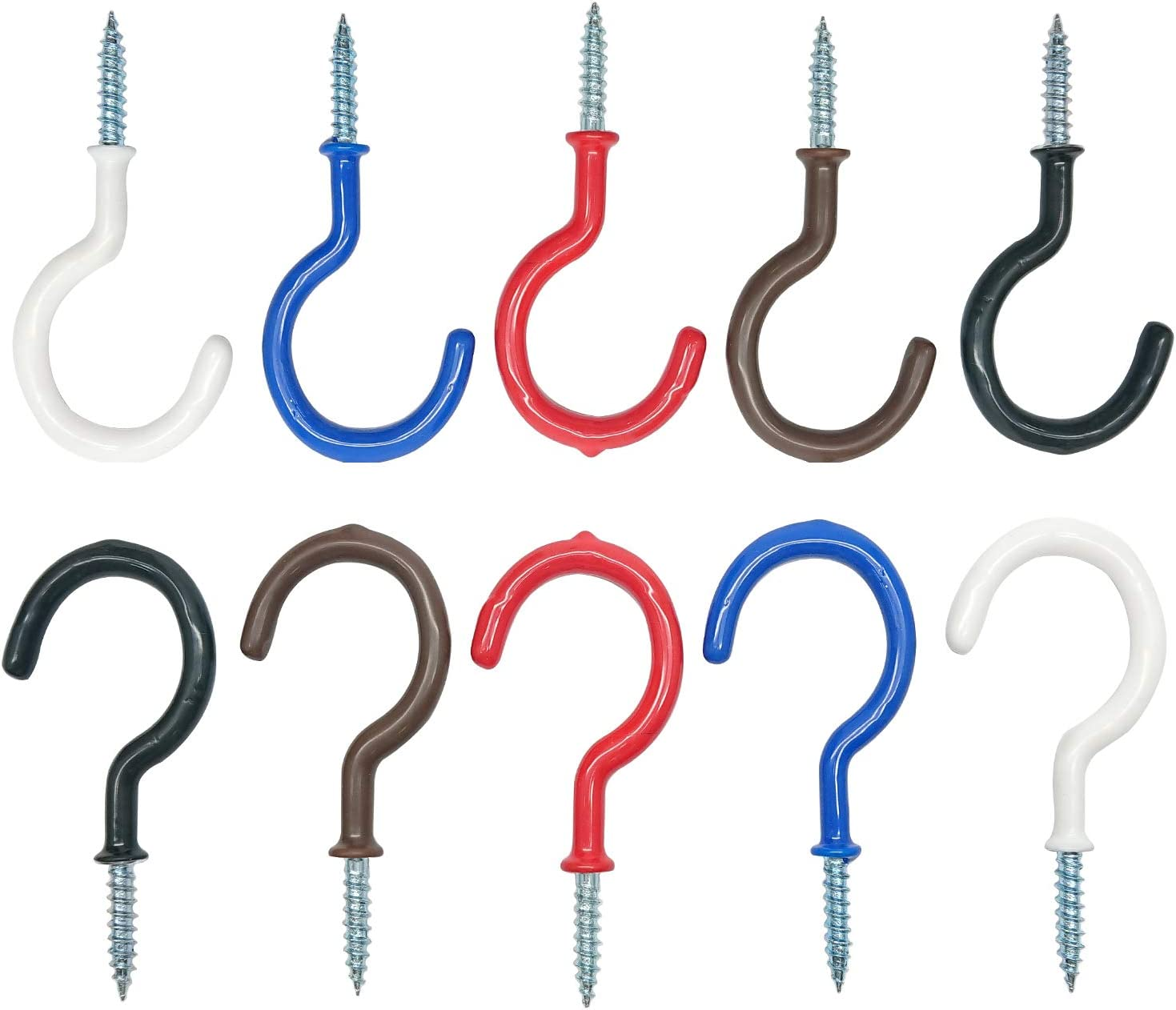White Kitchen Hooks,Plant Hooks,Cup Hooks Great for Indoor /& Outdoor Use 2.9 Inches Ceiling Hooks,20 Pack Vinyl Coated Screw-in Wall Hooks