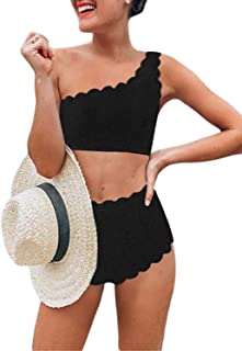 Womens Vintage High Waisted Two Pieces Scalloped Trim One Shoulder Bikini Bathing Suit