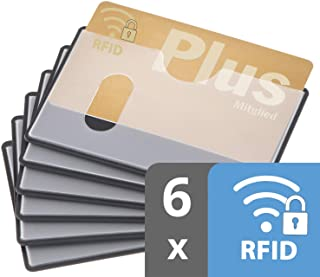 custodia carta contactless | 6x nfc protezione RFID | certificato | inserimento orizzontale | trasparente | custodia banco...