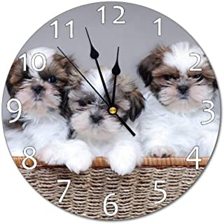 VinMea Wall Clock,Shih Tzu Puppies,Silent, no Ticking, Home Decoration, 11.8x11.8 inches