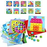 JIETENGFEI Button Art Toys Preschool Learning Education Toddler Toys Color Matching Mosaic for Boys and Girls Gift Toys Button 46 Figure 10