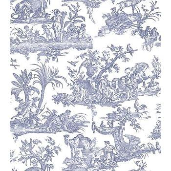 Amelia Papier Peint Toile de Jouy Bleu fonc/é 262963