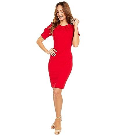 Calvin Klein Short Sleeve Sheath Dress with Pleat Bodice Detail (Red) Women