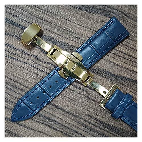 LIANYG Correa De Reloj Cintas de Reloj de Cuero 14mm 16mm 18 mm 19 mm 20 mm 21mm 22mm 24mm Reloj de Reloj Suave Lata de Correa 493 (Band Color : Blue Gold, Band Width : 14mm)