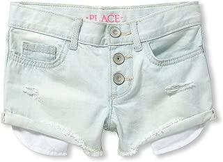 The Children's Place Girls' Big Button Front Denim Shorts