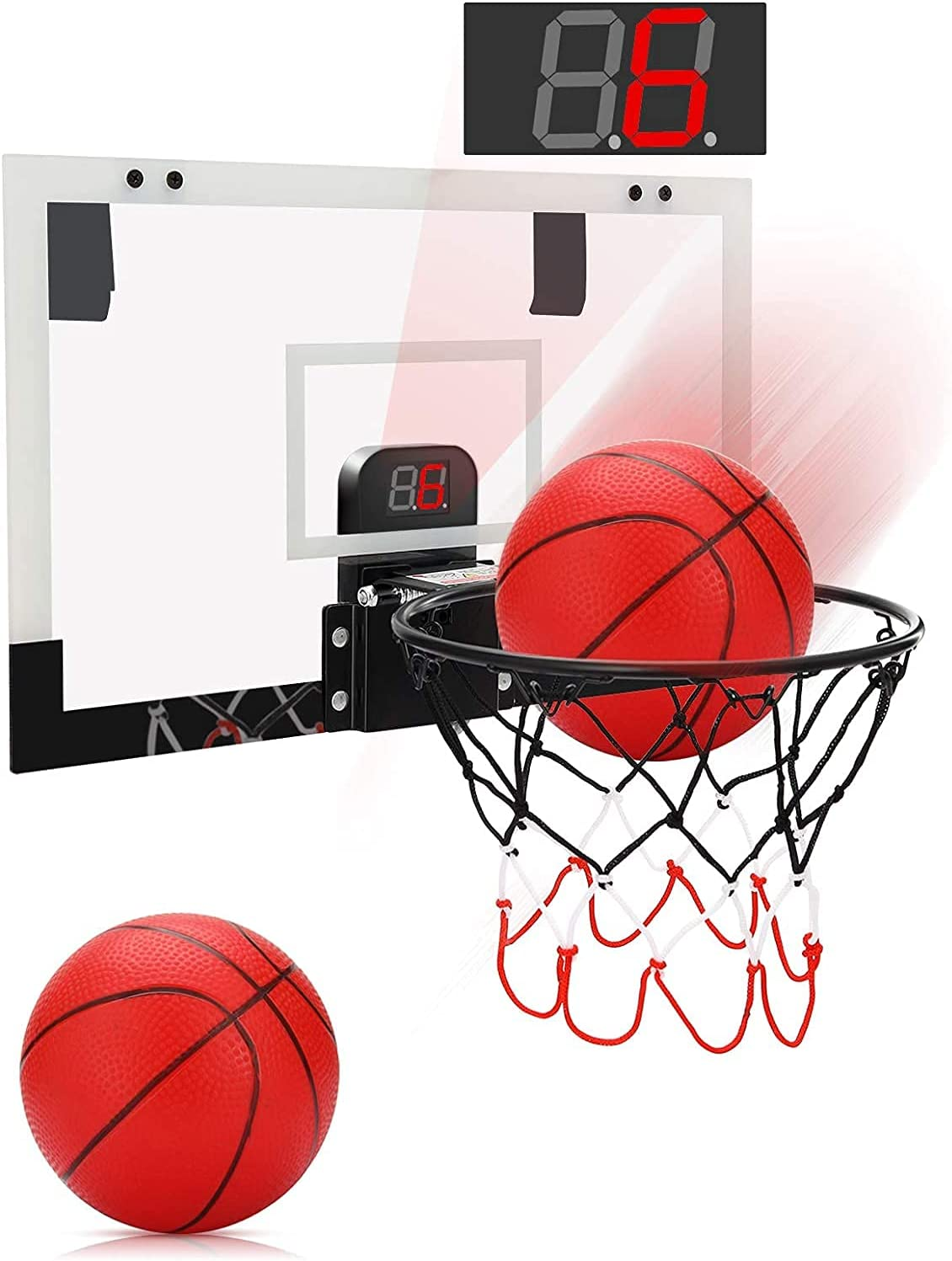 PELLOR Mini Basketball Hoop Set with Electronic Score Record and