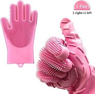Magic silicone dishwashing gloves,Dishwashing gloves with scrubber Reusable Heat Resistant Scrub Glove for Dish Washing,Kitchen cleaning, Washing The Car, Pet Hair Care | 1 PAIR | Pink