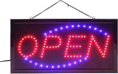 Panneau d'affichage LED Open (ouvert) avec 2 interrupteurs - Panneau lumineux LED