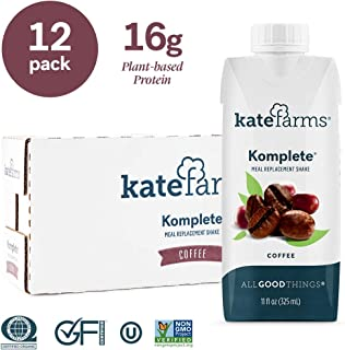 Kate Farms Komplete Coffee Meal Replacement Shake, Gluten Free, Nut Free, Dairy Free, Organic Plant Protein Ready to Drink, Case of 12