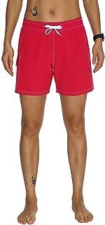 Nonwe Women's Swim Trunks Quick Dry Solid Summer Beach Shorts Mesh Lining