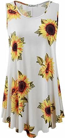 JollieLovin Womens Sleeveless Comfy Plus Size Tunic Tank Top with Flare Hem