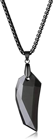 COAI Faceted Obsidian Spike Pendant Necklace for Men