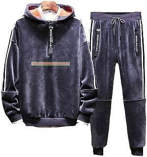 Men's Half Zipper Tracksuit Activewear Sports Jogging Sweat Suits Running Tracksuit with Hood