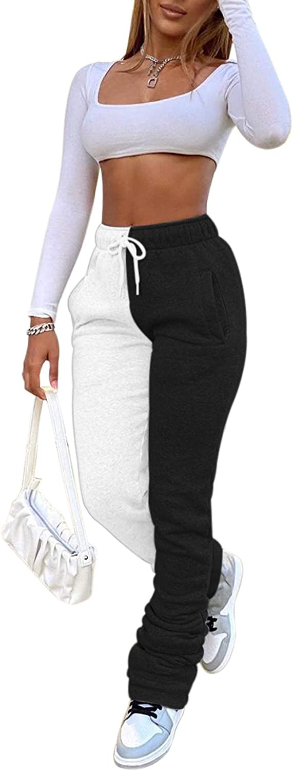 SHINFY Womens Color Block Sweatpants Yoga Pants Active Joggers Pants Running Workout Legging with Pockets