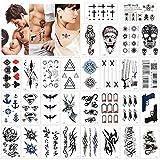 Konsait Tatuajes temporales para adultos Mujer (30 hojas), impermeable Tatuaje Temporal Adhesivos Tatuajes de cuerpo temporales brazo cuello, Dragón león cráneo