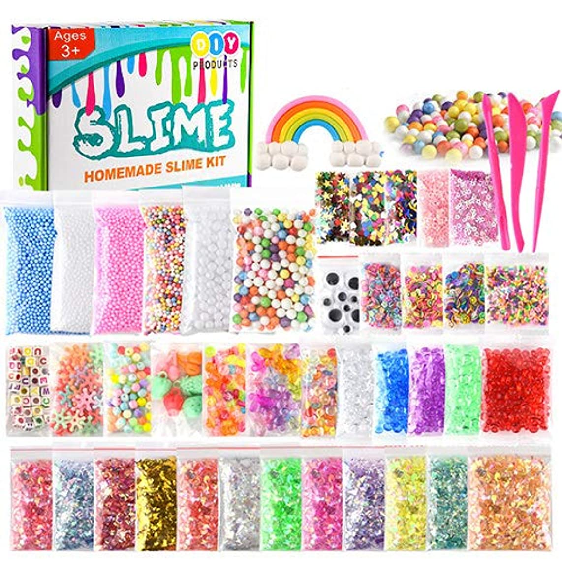 KUUQA 44 Packs Slime Supplies Kits Including Googly Eyes,Fishbowl Beads, Foam Balls, Glitter, Slices, Confetti, Slime Tools for DIY Craft Homemade Slime (Contain No Slime)