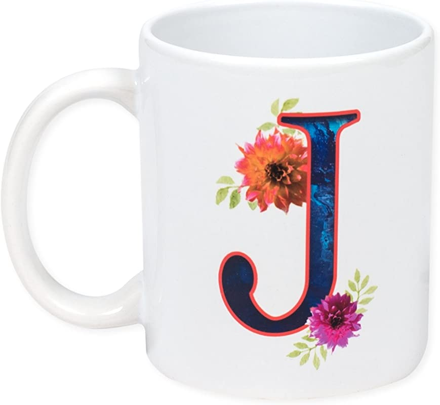 Floral Monogram Letter J 11 Ounce Ceramic Coffee Mug